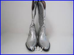 Silver Leather Cowboy Boots, Western Boots, US Size 10