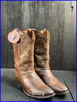 Size 10.5EE, mens western wear, brown cowboy boots, leather cowboy boots, Tony lama boots, FREE USA SHIPPING
