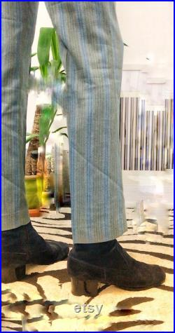 Stunning Vintage 1960s Blue Suede Cuban Heels Mod Psych Unisex UK7 8