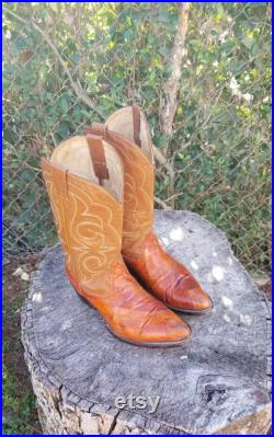 Sz 8.5 Vintage Western Style Cowboy Boots Pointy Toe Exotic Boots Genuine Leather From The 80s Rodeo Boots