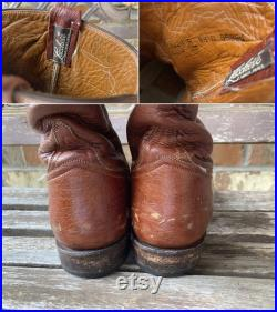 Sz 9.5D Vintage Lucchese Ostrich Leather Cowboy Roper Western Boots