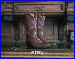 TONY LAMA Unisex Style 7044 Leather Western Boots Size 8.5C Womens 10.5, Vintage Cowboy Boots, Light Brown Leather, El Paso Texas, USA