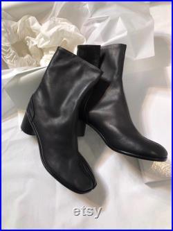 Tabi split-Toe leather men s boots calfskin EU40-45 6.5-7cm heel