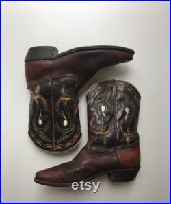 Texas Cowboy Boots in Chestnut and Chocolate Brown- Colorful Inlay Design and Stitching Broken In US 9 UK 6.5