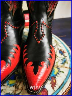 Tony Lama Classic Fire Walker Black Red Cowboy Boots 6853 Woman's 9D Inlaid Vintag