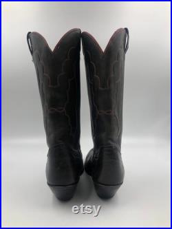 Tony Lama Classic Men's Cowboy High Boots from Black leather with beveled heels with embroidery narrow sock boots Men's size 10 1 2.
