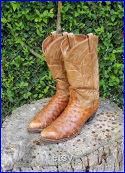 Tony Lama Men's Durmont Tan Full Quill Ostrich Cowboy Boots Vintage Distressed 1980s