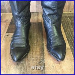 Tony Lama Vtg Classic Black Cowboy Boots Men s 9 ee