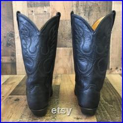 Tony Lama Vtg Classic Black Cowboy Boots Mens 10 D