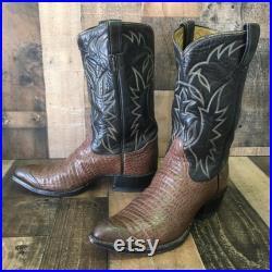 Tony Lama Vtg Exotic Leather Wing Tip Cowboy Boots Men s 10d