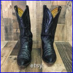 Tony Lama Vtg Full Quill Ostrich Cowboy Boots Men s 9 d