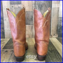 Tony Lama Vtg Gold Label Classic Brown Cowboy Boots Mens 13 A