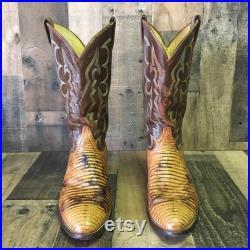 Tony Lama Vtg Gold Label Teju Cowboy Boots Men s 12 d