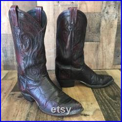 Tony Lama Vtg Ostrich Black Cherry Cowboy Boots Men s 9.5 d