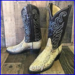 Tony Lama Vtg Snakeskin Cowboy Boots Mens 9 B