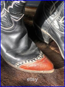 Tony Lama Wingtip Lizard Toe Boot in Black and White
