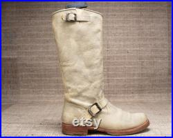 US Men's 8.5 FRYE Boots CAMPUS 90s . Gray Biker Boots Leather Tall High Knee Long Leather Chunky Cowboy Riding Boots . Eur 41, Uk 8