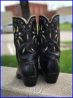 Vintage 1950s Black ACME Color Inlay Western Boots-Fully Restored