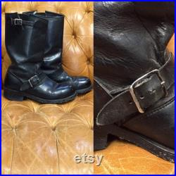 Vintage 1960 s, Black Leather Boots, Motorcycle Boots, Biker boots, Buckle Boots, Rockabilly Boots, Vintage Boots, 1960 s Boots