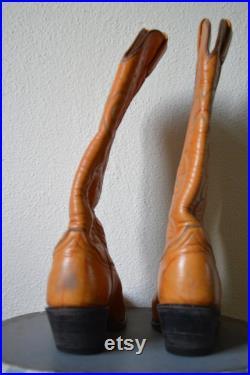 Vintage 1970's Tony lama Cowboy boots western orange tan marble panhandle slim 7.5 5.5