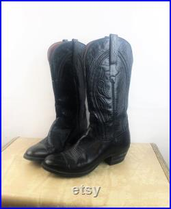 Vintage 1980s 80s Black Leather Western Cowboy Boots Size 8 1 2 B By Lucchese