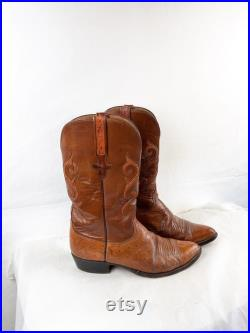 Vintage 1980s 80s Brown Leather Western Cowboy Boots Size 8 D By Lucchese