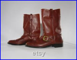 Vintage 1980s Brown Leather Mid Calf Boots 13 D, BILTRITE Pull On Cross Strap Buckle, Nylon Super Soft Heel Neoprene Neolite