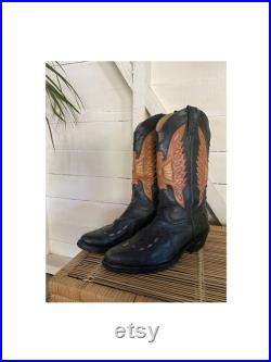 Vintage 1990's HB Agabe Santiags Leather Boots, Black Brown Beige, Western, Brazilian, 90's Vintage Boots, Cowboy, Country, Vintage Clothing