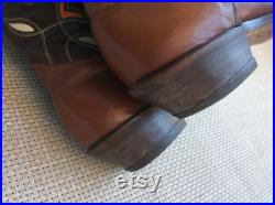 Vintage 50s 1950s cowboy boots inlaid leather 9.5 wide men s size 11 women size western