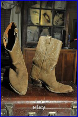 Vintage 50s or 60s Acme Roughout Western shortie Cowboy Boots Mens 10D Tan Suede Leather shafts