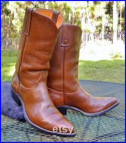 Vintage 60's Justin Boots USA ALL Leather Western Boots-Classic Cowboy NEEDLE Toes- Pegged soles Mens 8.5D