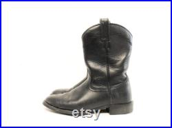Vintage 80s Ariat Black Leather Western Cowboy Work Boot Mens 7.5