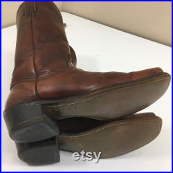 Vintage Abilene Men Brown Leather Cowboy Western SQUARE TOE Motorcycle ENGINEER Work Boots 9.5 1 2 D
