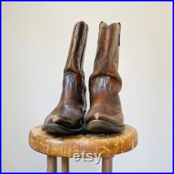 Vintage Acme Western Boots Brown Leather Cowboy Boot Men's Size 8.5 D