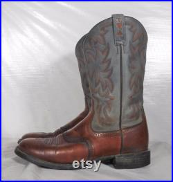 Vintage Ariat Ropers Mens Gray Brown Leather Cowboy Boots 10 B Western Two-Toned Grey