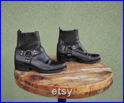 Vintage Black Leather Women Cowboy Booties, Men's Boots, Unisex Leather Shoes
