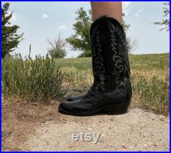 Vintage Black Ostrich Western Boots Men's Size 9.5D Womens 11.5