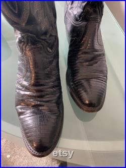 Vintage Black Tony Lama Teju Lizard Leather Western Boots, size 8.5D