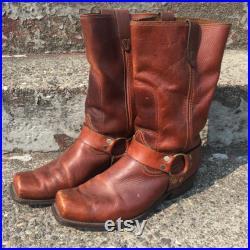 Vintage Bronco Brown Leather Harness Western Work Biker Boots Men's Size 10.5 Pull On