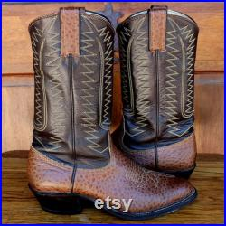 Vintage Brown Exotic Hide Vamp Dark Brown Shaft TUCSON Cowboy Boots Western Boots with Round Toes Cowboy Heels Made in USA, Men's Size 8 D