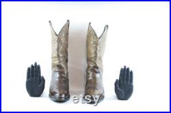 Vintage Cowboy Boots. Size 10 Tall Brown Genuine Leather 1980s Men Pull On Cowboy Boots.