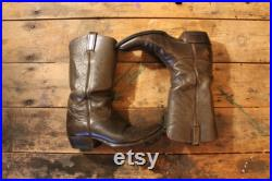 Vintage Cowboy Boots Tony Lama Black Label Chocolate Brown Ladies Size 9.5 Made in USA