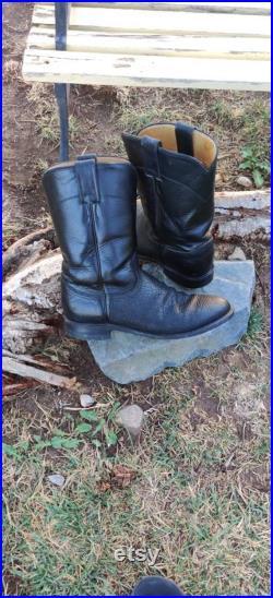 Vintage Cowboy Western Sharkskin ans Genuine Leather Flat Heeled Justin Boots for Men or Women