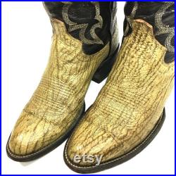 Vintage Custom Made Men Brown Genuine SHARK SKIN Cowboy Western EXOTIC Leather Boots 8.5 1 2 D