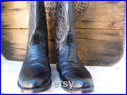 Vintage Dan Post Black Ostrich Leg Boot Men's Size 8 EW