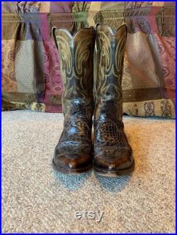 Vintage Dan Post Brown Men Cowboy Reptile Pointed Boots size 9 1 2 D