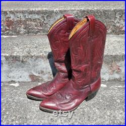 Vintage Dan Post Red and Black Embroidered Leather Western Cowboy Boots Men's Size 10 D
