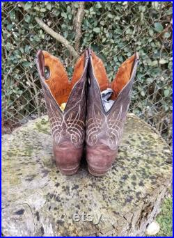 Vintage Golden Guns Western Style Cowboy Boots Genuine Leather Cowboys Boots
