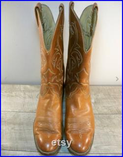 Vintage Hondo Brown Leather Motorcycle Biker Riding Cowboy Western Pull-On Boots Men's Size 10