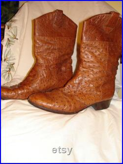 Vintage Italian Real Ostrich Leather Western-Style Boots